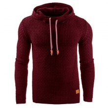 Men's Hooded Sweatshirt Winter Grid Long Sleeve Hooded Solid Color Sweater Clothing