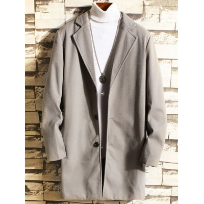 Men's Solid Color Loose Long Woolen Coat Casual Button-down Trench