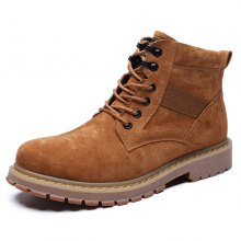 AILADUN Men's High-top Boots Outdoor Casual Solid Color Wear-resistant Anti-skid Tooling Shoes