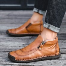 Men's Casual Large Size Leather Shoes Fashion Winter Warm Shoes